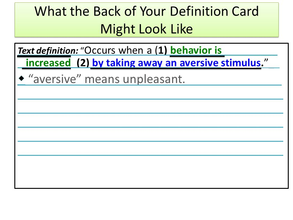 What the Back of Your Definition Card Might Look Like