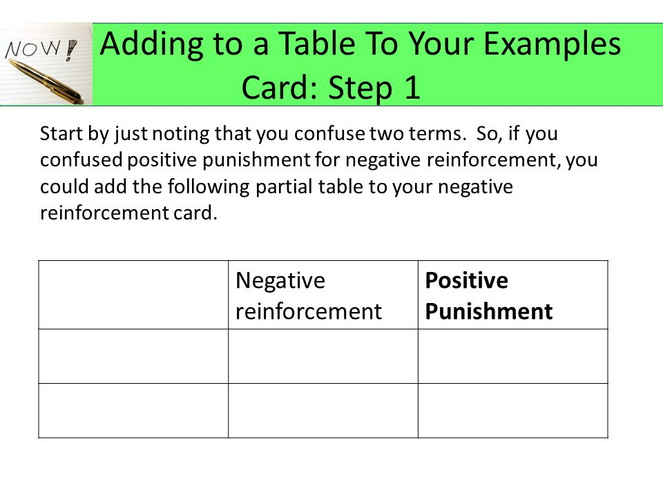 Adding to a Table To Your Examples Card: Step 1 Start by just noting that you confuse two terms.