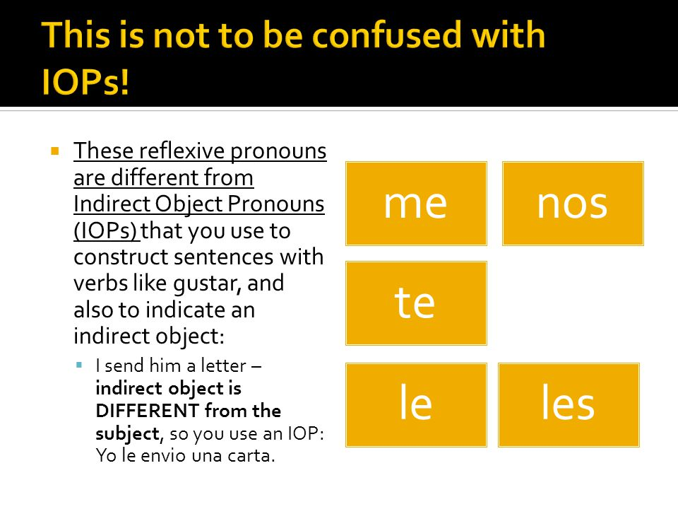  These reflexive pronouns are different from Indirect Object Pronouns (IOPs) that you use to construct sentences with verbs like gustar, and also to indicate an indirect object:  I send him a letter – indirect object is DIFFERENT from the subject, so you use an IOP: Yo le envio una carta.