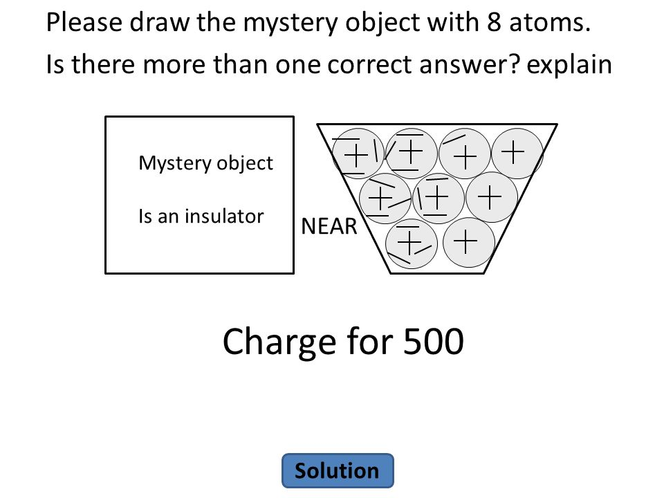 Charge for 500 Please draw the mystery object with 8 atoms.