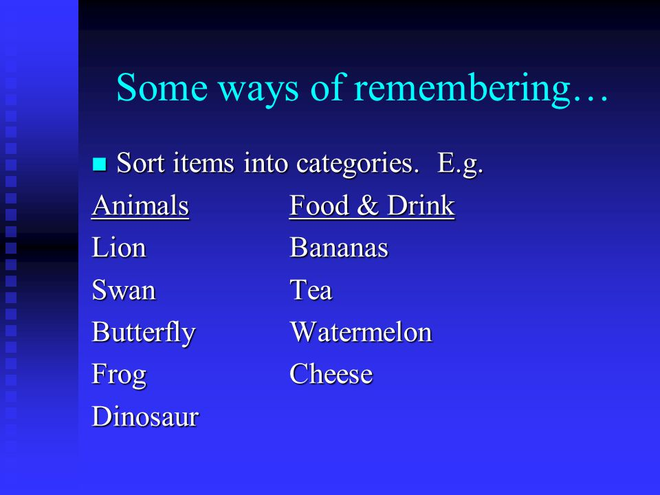 Some ways of remembering… Imagine that you are holding items/information all over your body.