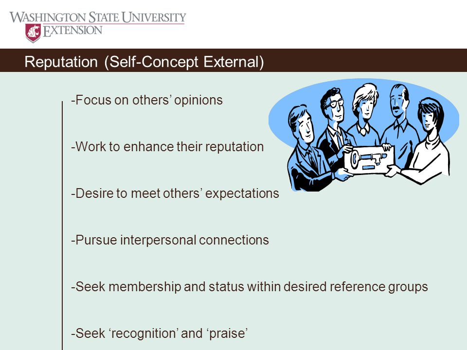 Reputation (Self-Concept External) -Focus on others' opinions -Work to enhance their reputation -Desire to meet others' expectations -Pursue interpersonal connections -Seek membership and status within desired reference groups -Seek 'recognition' and 'praise'