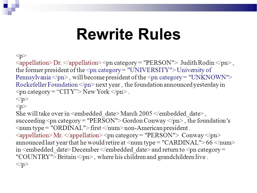 Rewrite Rules Dr.