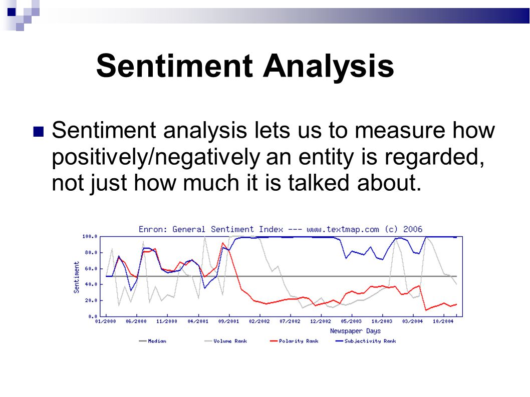 Sentiment Analysis Sentiment analysis lets us to measure how positively/negatively an entity is regarded, not just how much it is talked about.