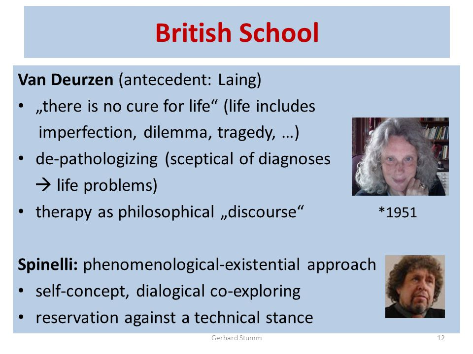 "British School Van Deurzen (antecedent: Laing) ""there is no cure for life (life includes imperfection, dilemma, tragedy, …) de-pathologizing (sceptical of diagnoses  life problems) therapy as philosophical ""discourse *1951 Spinelli: phenomenological-existential approach self-concept, dialogical co-exploring reservation against a technical stance Gerhard Stumm12"