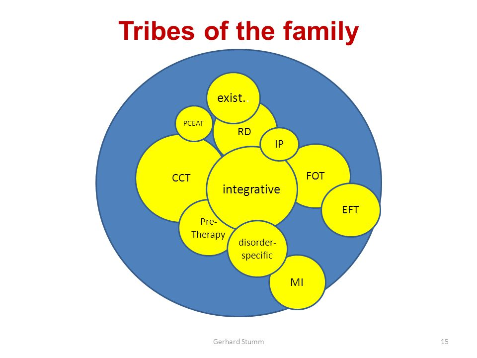Tribes of the family Gerhard Stumm CCT RD FOT EFT MI exist..