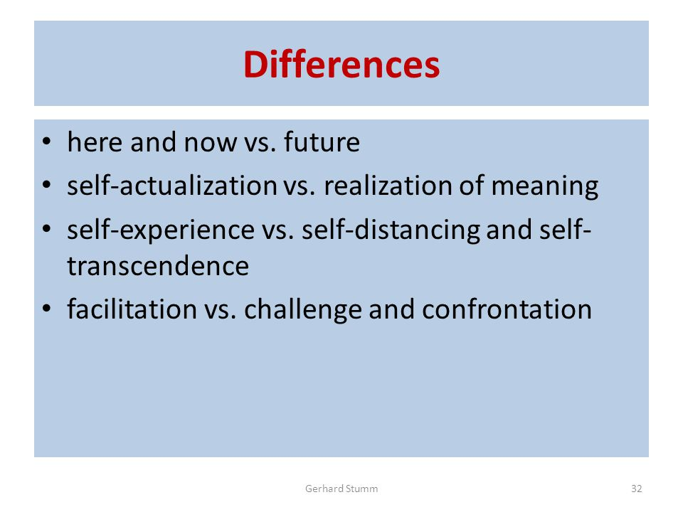 Differences here and now vs. future self-actualization vs.