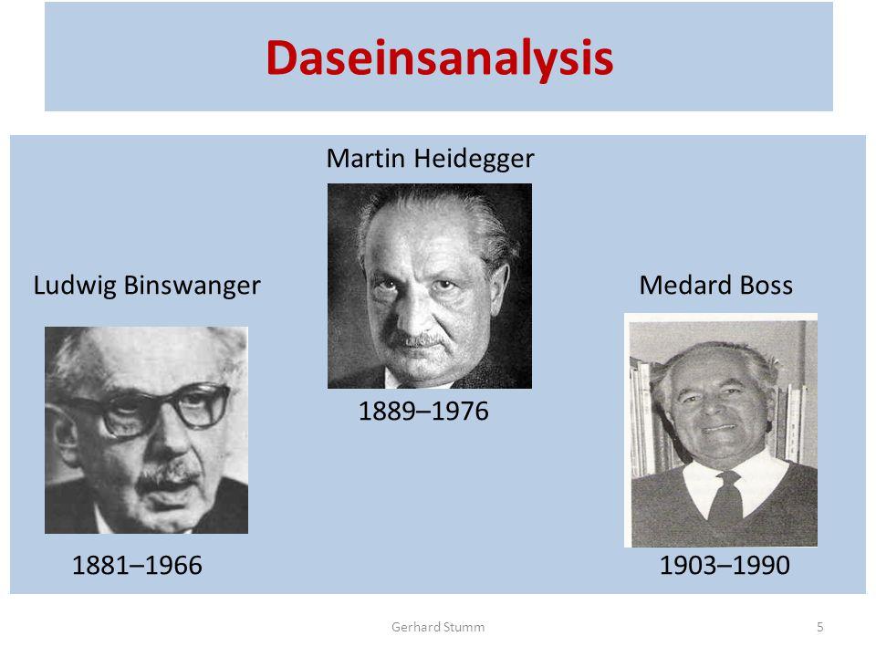 Daseinsanalysis Martin Heidegger Ludwig Binswanger Medard Boss 1889–1976 1881–1966 1903–1990 Gerhard Stumm5