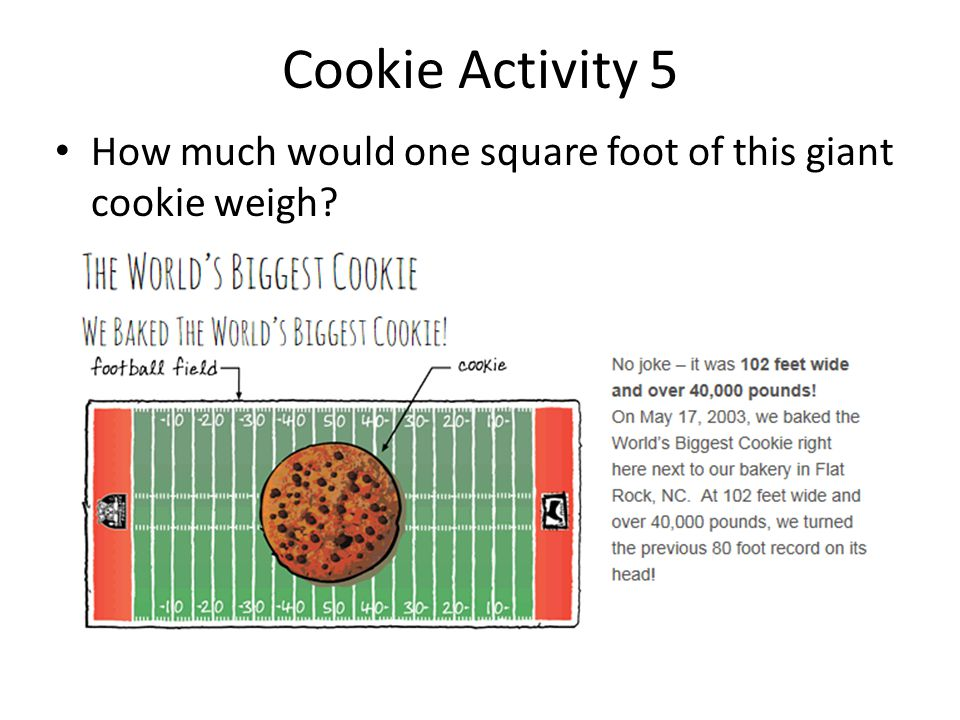 Cookie Activity 5 How much would one square foot of this giant cookie weigh?