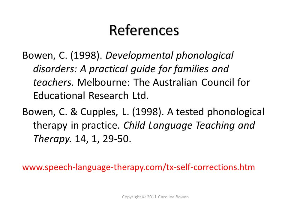 References Bowen, C.(1998).