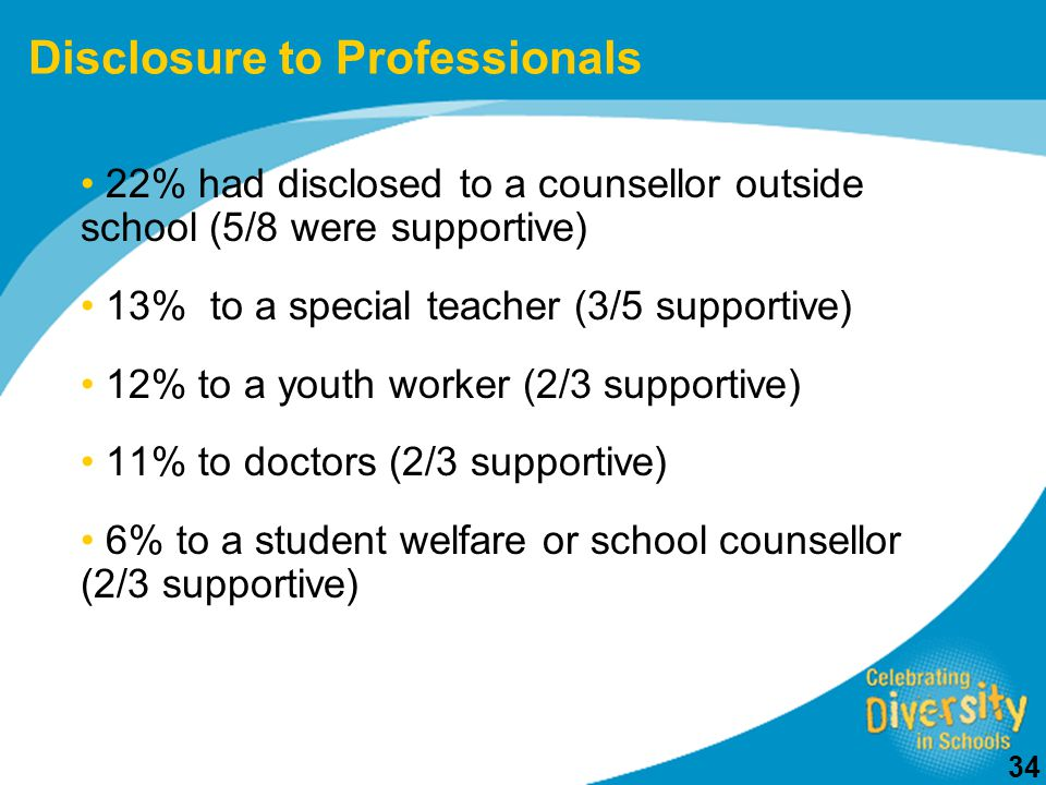 34 22% had disclosed to a counsellor outside school (5/8 were supportive) 13% to a special teacher (3/5 supportive) 12% to a youth worker (2/3 supportive) 11% to doctors (2/3 supportive) 6% to a student welfare or school counsellor (2/3 supportive) Disclosure to Professionals