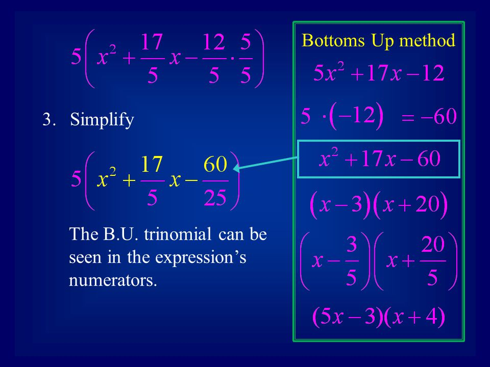 Bottoms Up method 3.Simplify The B.U. trinomial can be seen in the expression's numerators.