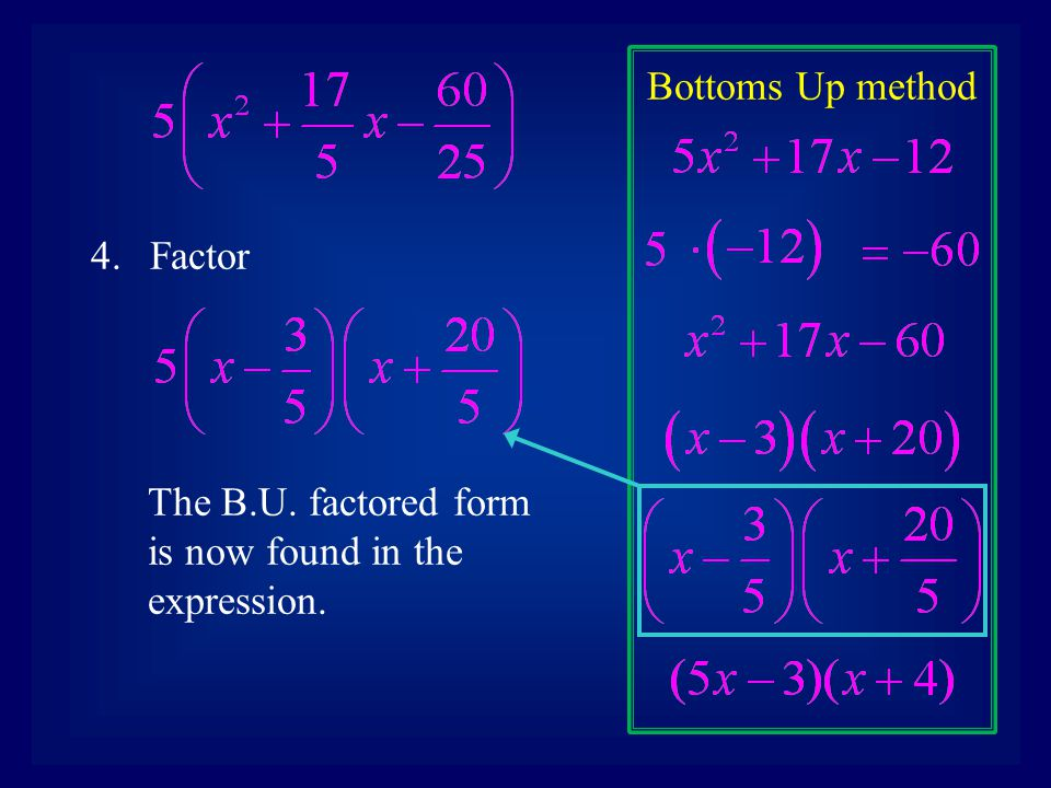 Bottoms Up method 4.Factor The B.U. factored form is now found in the expression.