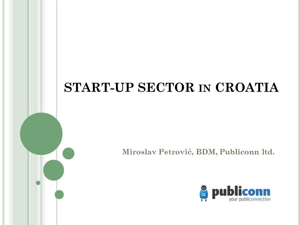 START-UP SECTOR IN CROATIA Miroslav Petrović, BDM, Publiconn ltd.