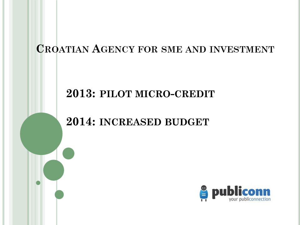C ROATIAN A GENCY FOR SME AND INVESTMENT 2013: PILOT MICRO - CREDIT 2014: INCREASED BUDGET