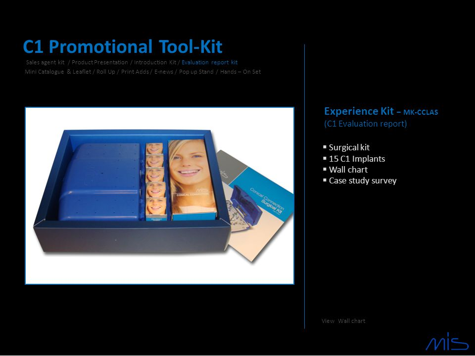 Experience Kit – MK-CCLAS (C1 Evaluation report)  Surgical kit  15 C1 Implants  Wall chart  Case study survey C1 Promotional Tool-Kit Sales agent kit / Product Presentation / Introduction Kit / Evaluation report kit Mini Catalogue & Leaflet / Roll Up / Print Adds / E-news / Pop up Stand / Hands – On Set View Wall chart