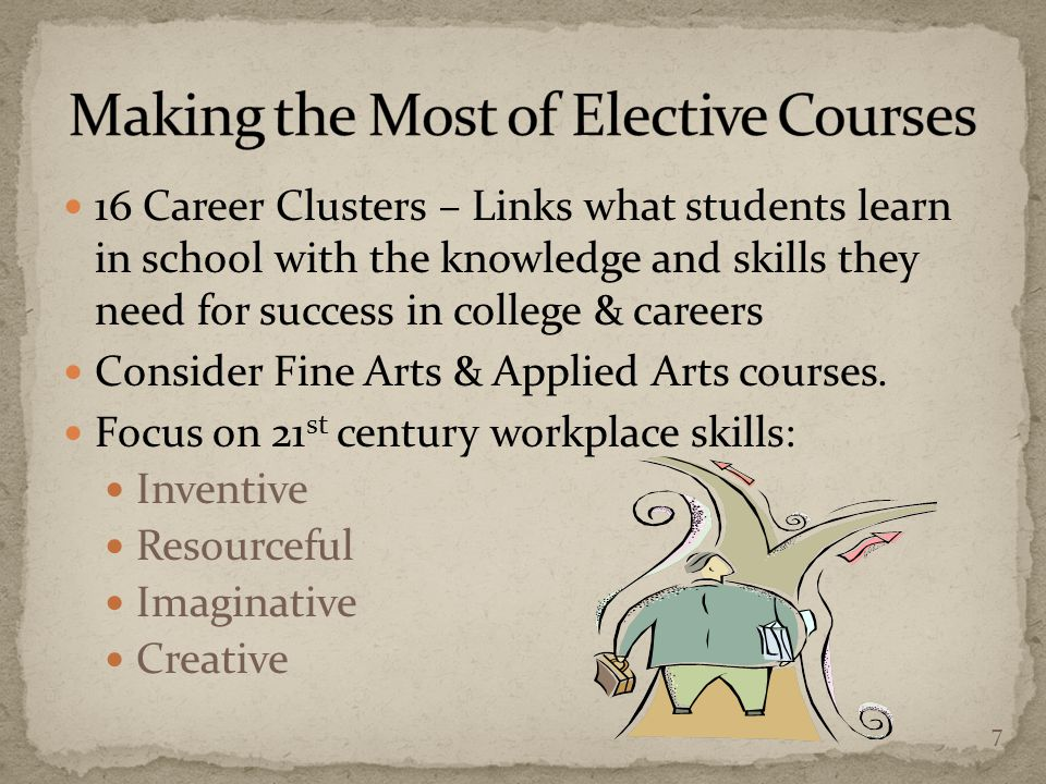 16 Career Clusters – Links what students learn in school with the knowledge and skills they need for success in college & careers Consider Fine Arts & Applied Arts courses.