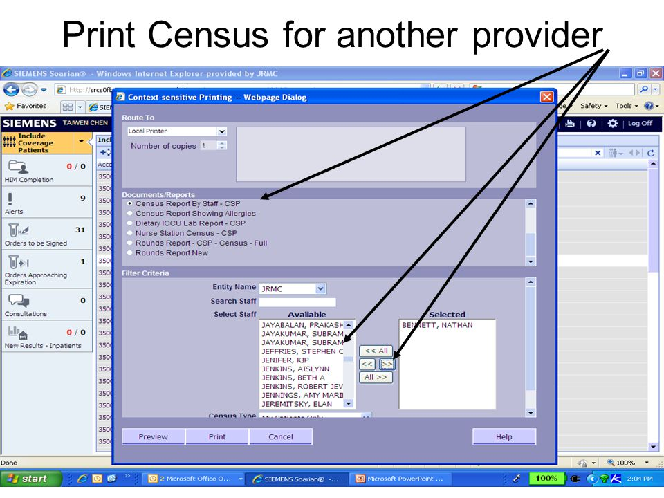 Print Census for another provider
