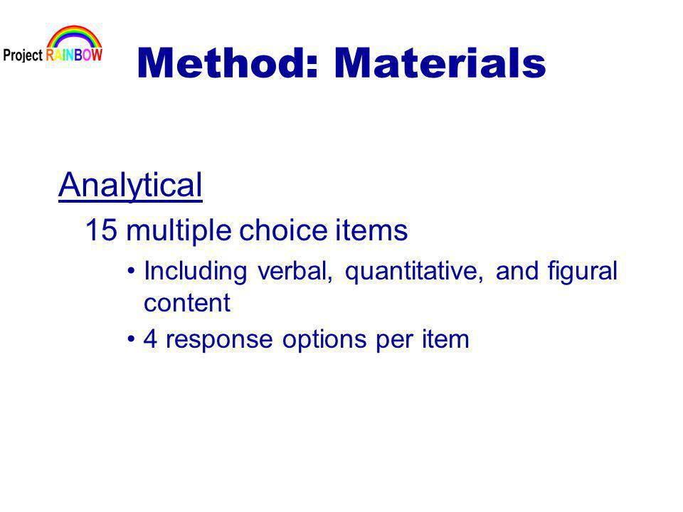 Method: Materials Analytical 15 multiple choice items Including verbal, quantitative, and figural content 4 response options per item