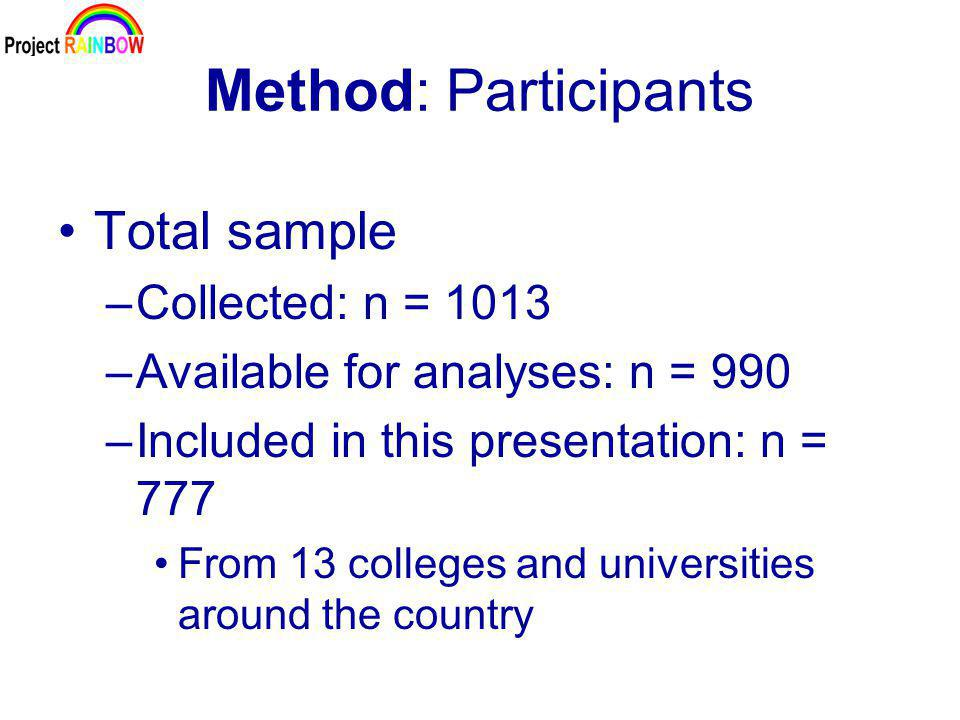 Method: Participants Total sample –Collected: n = 1013 –Available for analyses: n = 990 –Included in this presentation: n = 777 From 13 colleges and universities around the country
