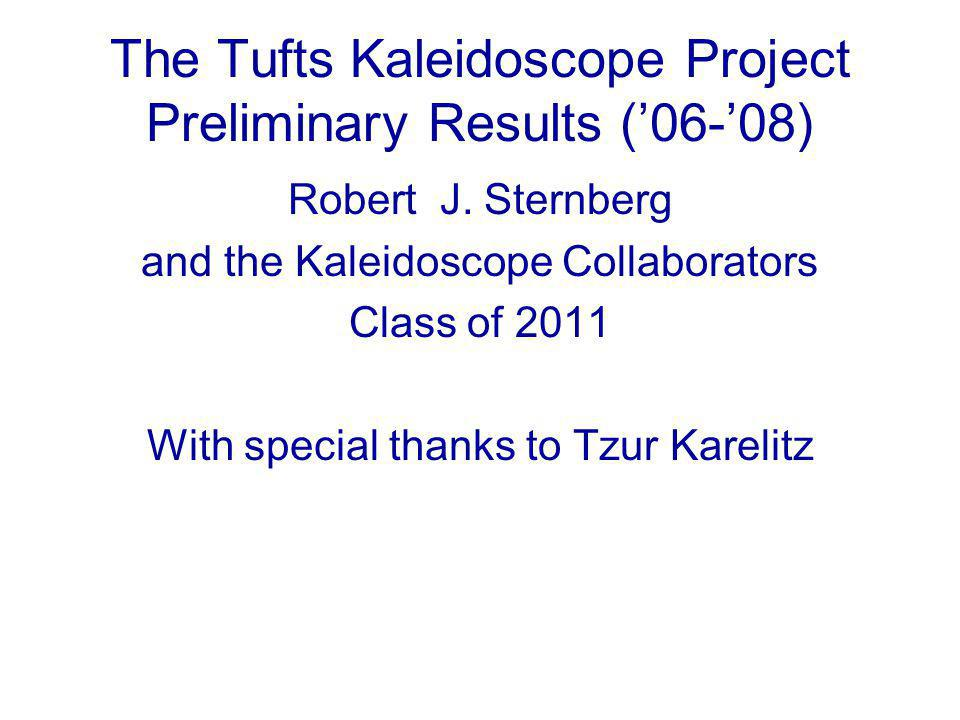 The Tufts Kaleidoscope Project Preliminary Results ('06-'08) Robert J.