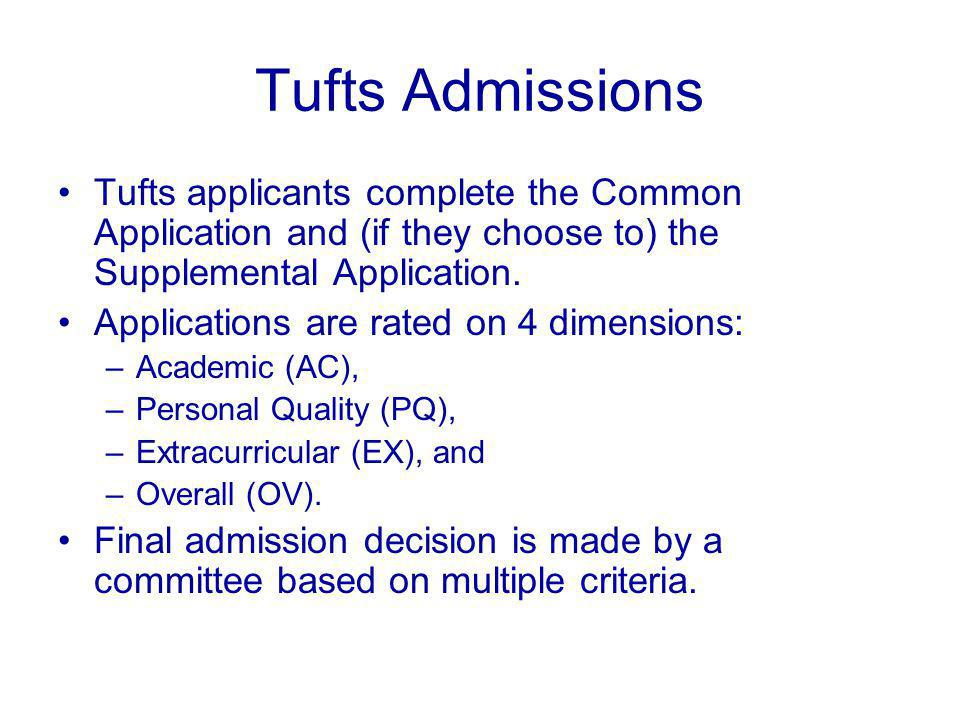 Tufts Admissions Tufts applicants complete the Common Application and (if they choose to) the Supplemental Application.