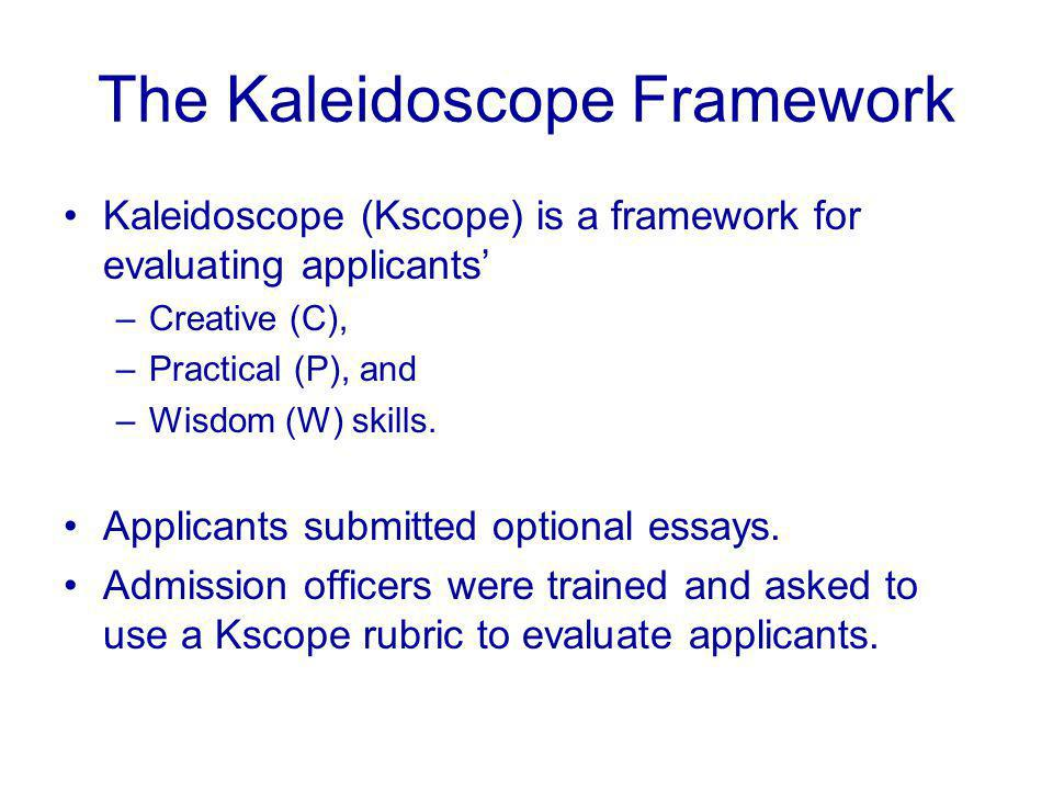 The Kaleidoscope Framework Kaleidoscope (Kscope) is a framework for evaluating applicants' –Creative (C), –Practical (P), and –Wisdom (W) skills.