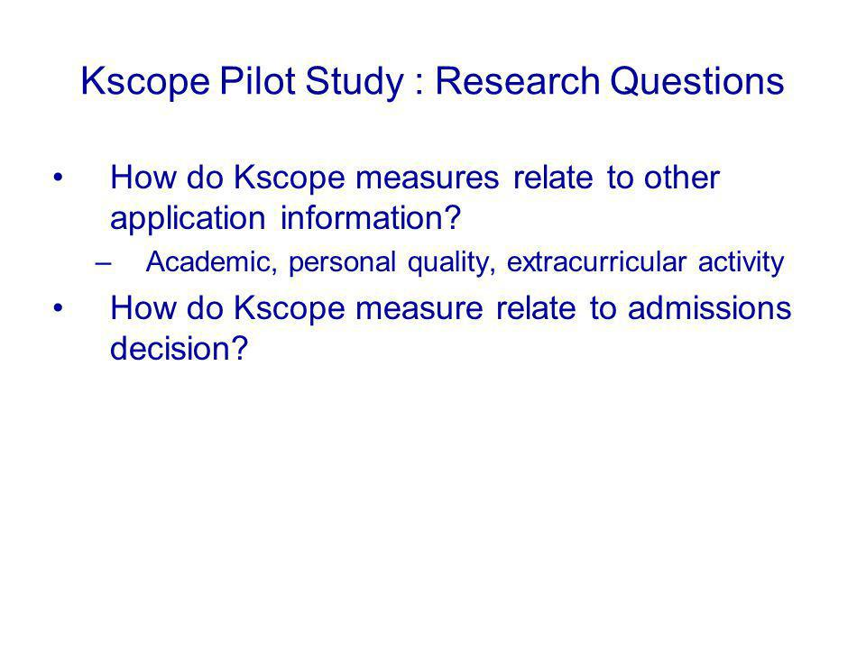 Kscope Pilot Study : Research Questions How do Kscope measures relate to other application information.