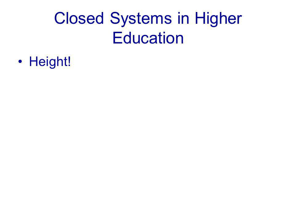 Closed Systems in Higher Education Height!