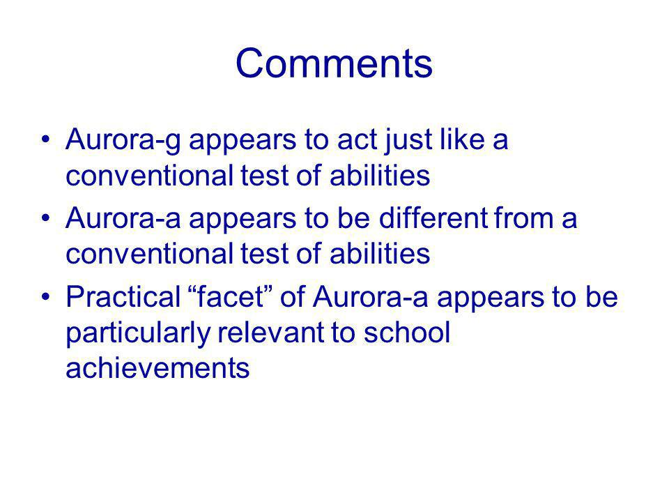 Comments Aurora-g appears to act just like a conventional test of abilities Aurora-a appears to be different from a conventional test of abilities Practical facet of Aurora-a appears to be particularly relevant to school achievements