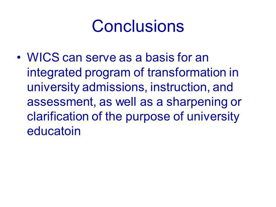 Conclusions WICS can serve as a basis for an integrated program of transformation in university admissions, instruction, and assessment, as well as a sharpening or clarification of the purpose of university educatoin