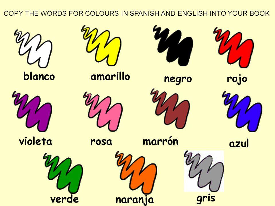 blanco marrónrosavioleta rojonegro amarillo azul verdenaranja gris COPY THE WORDS FOR COLOURS IN SPANISH AND ENGLISH INTO YOUR BOOK