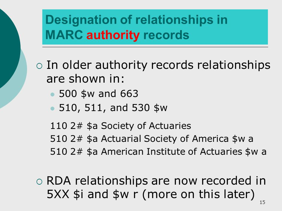 15 Designation of relationships in MARC authority records  In older authority records relationships are shown in: 500 $w and 663 510, 511, and 530 $w 110 2# $a Society of Actuaries 510 2# $a Actuarial Society of America $w a 510 2# $a American Institute of Actuaries $w a  RDA relationships are now recorded in 5XX $i and $w r (more on this later)
