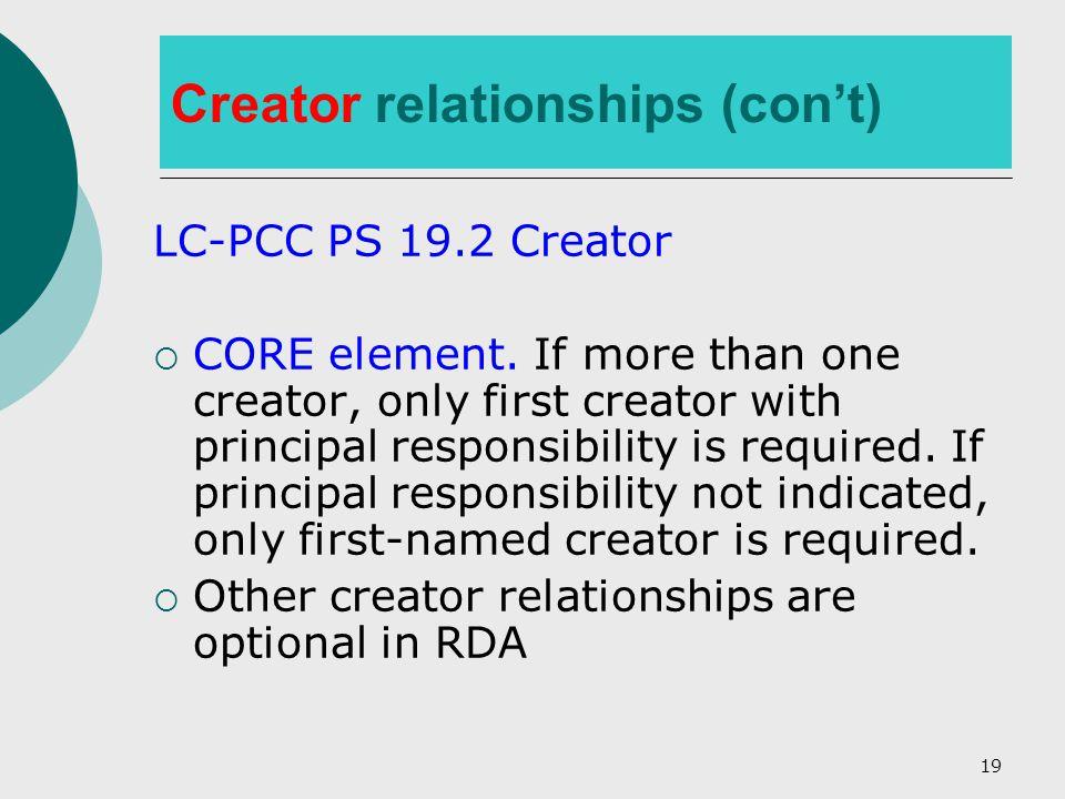 19 Creator relationships (con't) LC-PCC PS 19.2 Creator  CORE element.