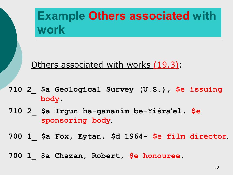 22 Example Others associated with work Others associated with works (19.3): 710 2_ $a Geological Survey (U.S.), $e issuing body.