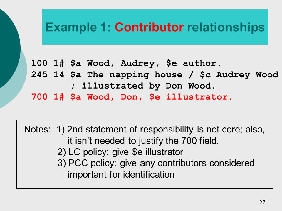 27 Example 1: Contributor relationships 100 1# $a Wood, Audrey, $e author.