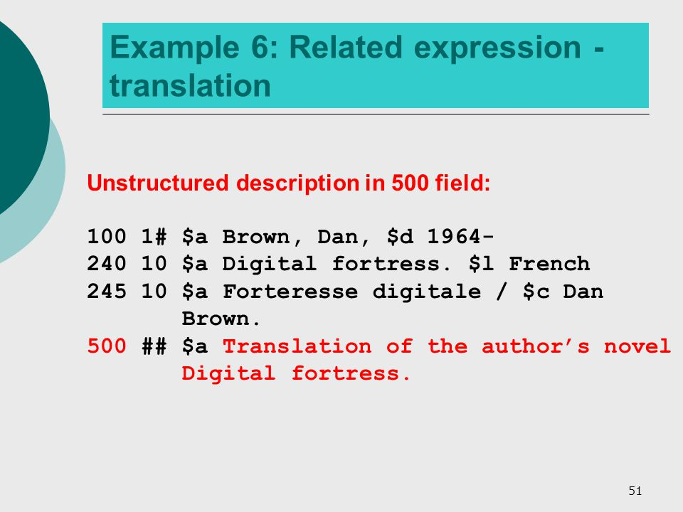 51 Example 6: Related expression - translation Unstructured description in 500 field: 100 1# $a Brown, Dan, $d 1964- 240 10 $a Digital fortress.