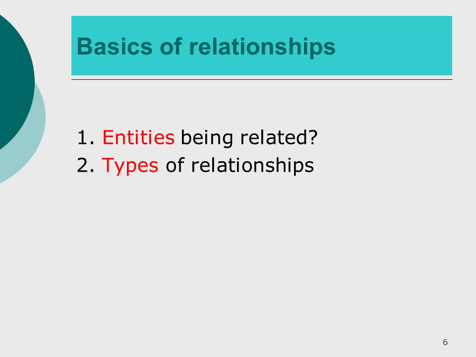 6 Basics of relationships 1. Entities being related 2. Types of relationships