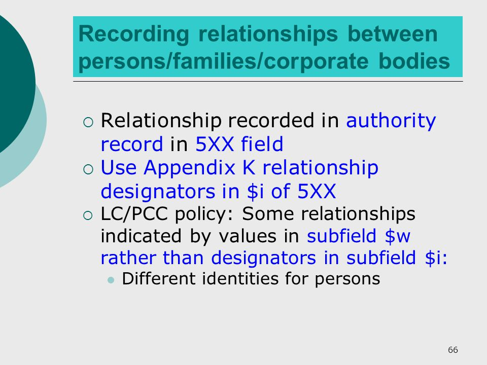 66 Recording relationships between persons/families/corporate bodies  Relationship recorded in authority record in 5XX field  Use Appendix K relationship designators in $i of 5XX  LC/PCC policy: Some relationships indicated by values in subfield $w rather than designators in subfield $i: Different identities for persons