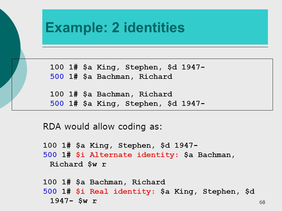 68 Example: 2 identities 100 1# $a King, Stephen, $d 1947- 500 1# $a Bachman, Richard 100 1# $a Bachman, Richard 500 1# $a King, Stephen, $d 1947- RDA would allow coding as: 100 1# $a King, Stephen, $d 1947- 500 1# $i Alternate identity: $a Bachman, Richard $w r 100 1# $a Bachman, Richard 500 1# $i Real identity: $a King, Stephen, $d 1947- $w r