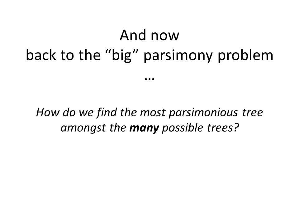 And now back to the big parsimony problem … How do we find the most parsimonious tree amongst the many possible trees