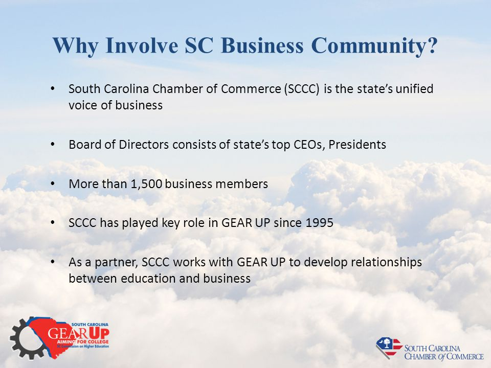 Why Involve SC Business Community? South Carolina Chamber of Commerce (SCCC) is the state's unified voice of business Board of Directors consists of s
