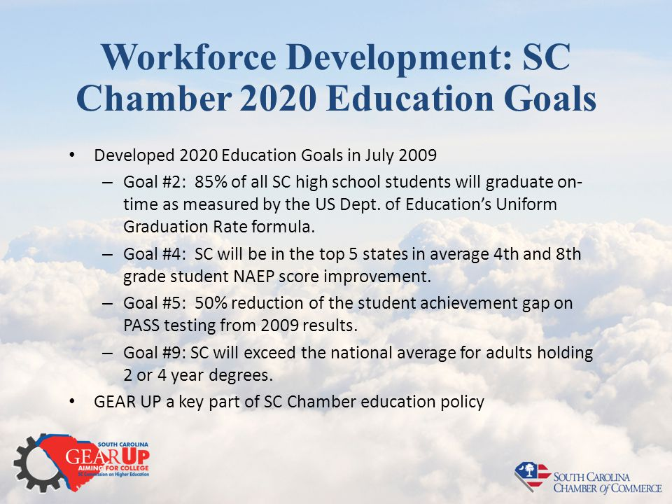 Workforce Development: SC Chamber 2020 Education Goals Developed 2020 Education Goals in July 2009 – Goal #2: 85% of all SC high school students will graduate on- time as measured by the US Dept.