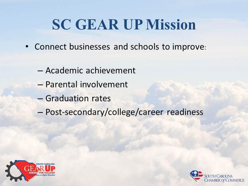 SC GEAR UP Mission Connect businesses and schools to improve : – Academic achievement – Parental involvement – Graduation rates – Post-secondary/college/career readiness