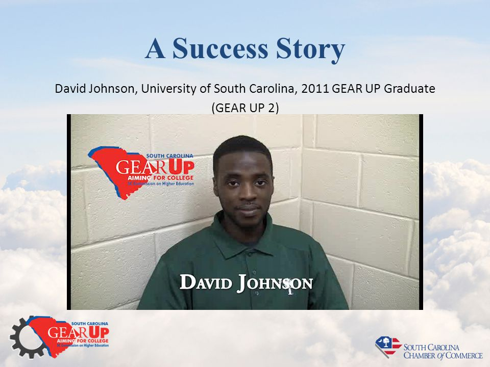A Success Story David Johnson, University of South Carolina, 2011 GEAR UP Graduate (GEAR UP 2)