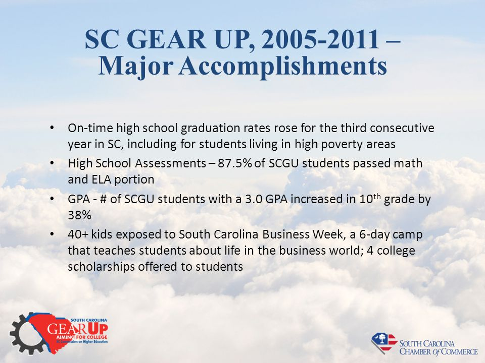 SC GEAR UP, 2005-2011 – Major Accomplishments On-time high school graduation rates rose for the third consecutive year in SC, including for students l