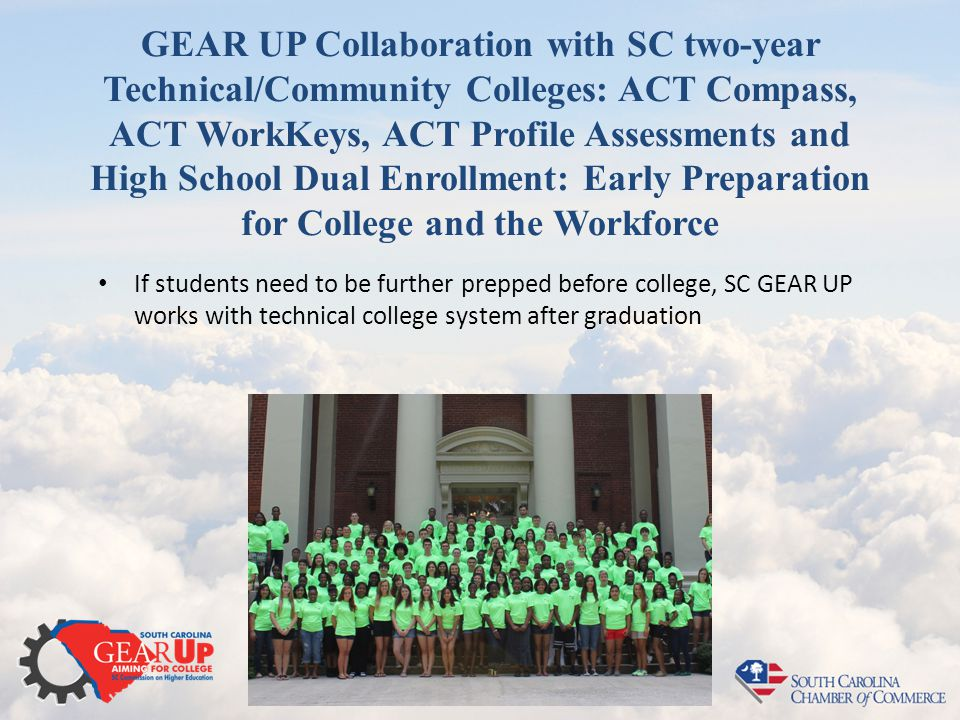 GEAR UP Collaboration with SC two-year Technical/Community Colleges: ACT Compass, ACT WorkKeys, ACT Profile Assessments and High School Dual Enrollmen