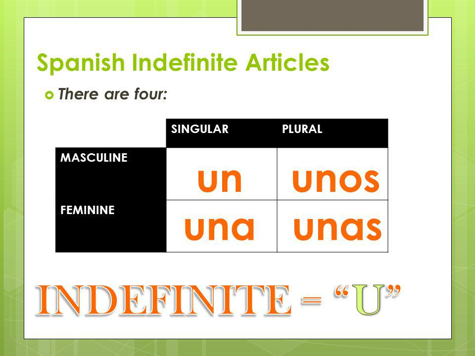 "Indefinite Articles = ""a, an""  Refers to any person, place, or thing, NOT a specific one.  i.e., a girl, a school."