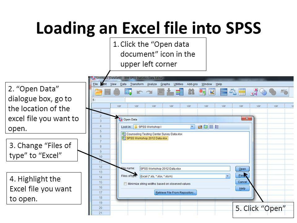 Loading an Excel file into SPSS 1.Click the Open data document icon in the upper left corner 2.