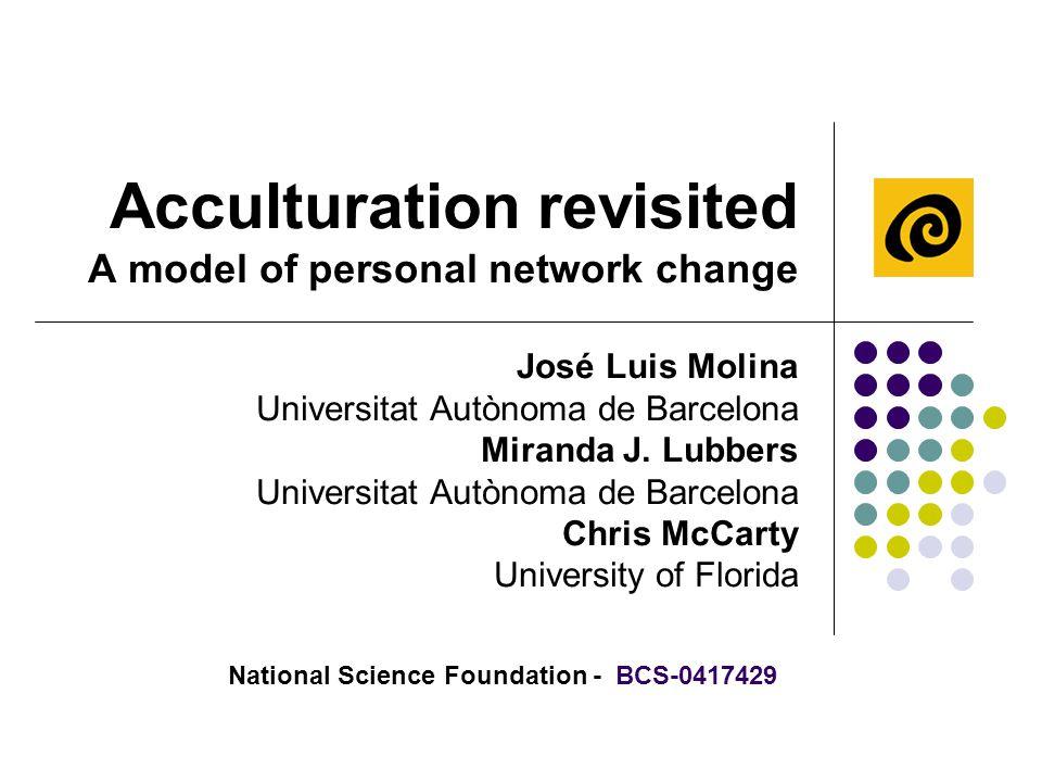 Acculturation revisited A model of personal network change José Luis Molina Universitat Autònoma de Barcelona Miranda J.